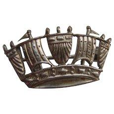 Vintage Solid Silver Naval Crown Sweetheart Brooch Royal Navy