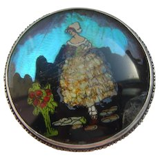 Vintage 1920's Butterfly Wing & Crushed Opal Crinoline Lady Sterling Silver Brooch