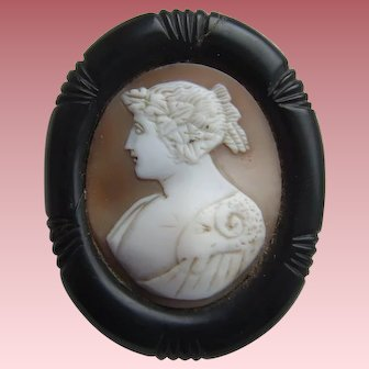 Victorian Whitby Jet Mounted Medea and the Golden Fleece Shell Cameo Brooch