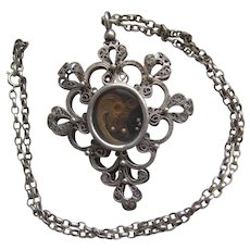 Huge Antique Mourning Silver Filigree Locket Pendant on Chain Hair & Photo