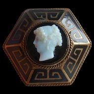 Unusual VICTORIAN Hexagonal Greek Key Enamel CAMEO Mourning LOCKET Back Brooch