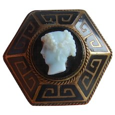 Unusual VICTORIAN Hexagonal Greek Key Enamel CAMEO Mourning LOCKET Back Brooch