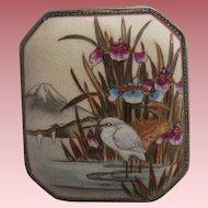 Antique  Japanese Satsuma Birds & Mount Fuji Brooch Shimazu Clan Meiji Period