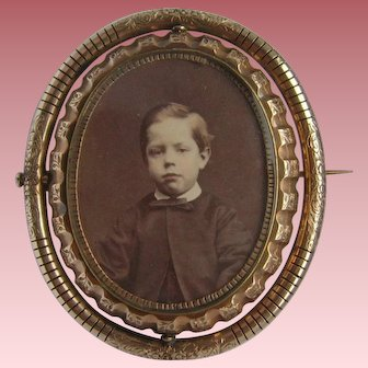 Victorian Pinchbeck Double Photo Locket Mourning Brooch Boy & Granny