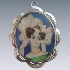 Antique French Portrait Miniature in Silver Pendant c1820 Woman in Coral Necklace