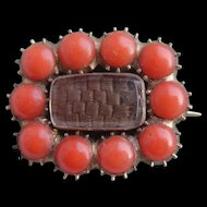 Antique GEORGIAN c1830 9ct Gold Natural Sea CORAL Hair Locket Mourning Brooch