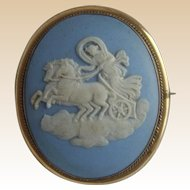 Antique Large WEDGWOOD Blue Jasperware AURORA on Chariot Pinchbeck CAMEO Brooch