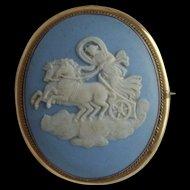 Antique Large WEDGWOOD Blue Jasperware AURORA on Chariot Pinchbeck CAMEO Brooch