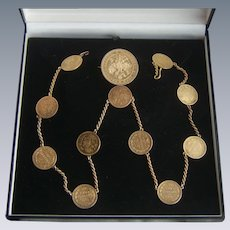 Victorian Chatelaine Watch Chain 12 Russian Empire Silver Gilt Coins 74.8g