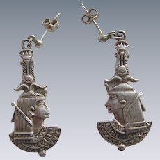 Fine Vintage Sterling Silver 925 Egyptian Pharaoh Drop Earrings