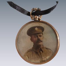 Edwardian 9K Carat Gold Locket Pendant with Photos of Soldier & Baby