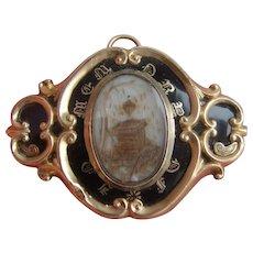 Antique Victorian Gold BF Black Enamel Memento Mori MOURNING Hair Locket Brooch
