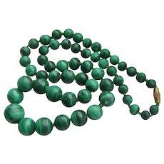 Vintage Malachite Bead Graduated Gemstone Necklace