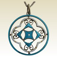 Antique Art Nouveau Continental SILVER 935 Blue & White Enamel Pendant on Chain