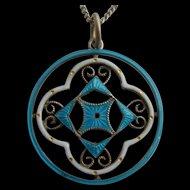 Antique Art Nouveau Continental SILVER 935 Blue & White Enamel Pendant on Chain