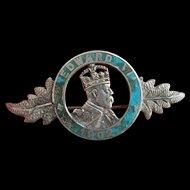 King Edward V11 1902 Coronation Silver Brooch H/M Chester 1901 CHARLES HORNER