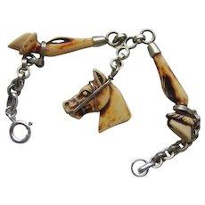 Novelty Art Deco Celluloid Early Plastic Horse Head & Hooves Bracelet Very Rare!