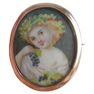 Antique 9ct Rose Gold Mount Hand Painted Miniature PORTRAIT Ethereal Girl Brooch