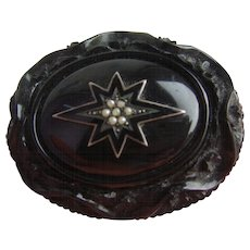 Victorian Carved Whitby Jet & Black Enamel Seed Pearl MOURNING Locket Brooch