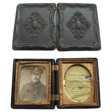 Victorian Thermoplastic Union Case with WW1 Image of Soldier