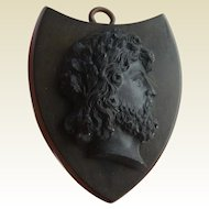Rare HUGE Victorian Vulcanite Shield Shaped ZEUS CAMEO Locket & Period Photos c1860