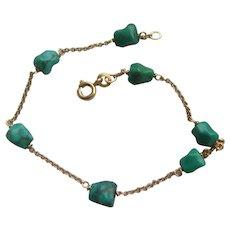 Vintage 18K Carat Gold Turquoise Nugget Bracelet