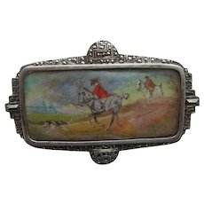 Art Deco Hand Painted HUNTING Scene in High Grade 935 SILVER & Marcasite Brooch