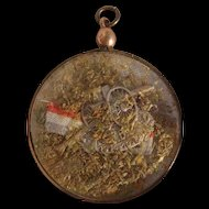 WW1 Souvenir 1914-1918 French Rolled Gold LOCKET Pendant inc Flag Cannon & MOSS