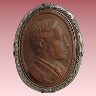 RARE Vintage BOIS DURCI Male CAMEO in Art Deco Sterling SILVER Brooch Marshall Tagg