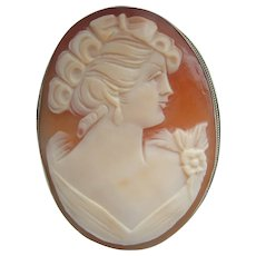 """Vintage 2"""" LARGE 1950's Shell Cameo Lady Portrait in Fine 800 SILVER Brooch"""