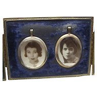 Vintage Aug Walker Leatherette Frame Encasing 2 Photo LOCKET Pendants 1920s Girls