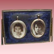 Vintage Aug Walker Leatherette Frame Encasing 2 Photo LOCKET Pendants 1920s Girls