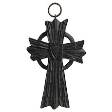 RARE Large VICTORIAN Hand Carved Irish BOG OAK Celtic HARP Cross Pendant