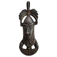 Vintage Large Sterling SILVER 925 African Tribal Benin MASK Pendant from NIGERIA