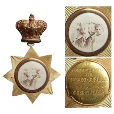 Rare Queen VICTORIA & Heirs to Throne Jubilee Medal Medallion with Crown Badge