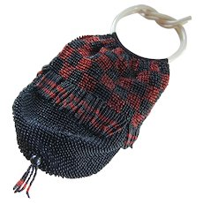 Art Deco Ruby & Black Glass Beaded Tassel Purse Bag Cream Celluloid Handles