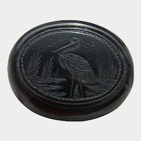 Antique Victorian Whitby Jet Hand Carved Stork Brooch Scarce Item!