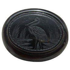 Antique Victorian Whitby Jet Hand Carved Stork Brooch Scare Item!