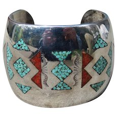 Vintage Native American Signed Turquoise and Coral Chip Inlay Bracelet