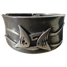 Mexican Taxco Silver Enrique Ledesma Fish and Waves Bracelet