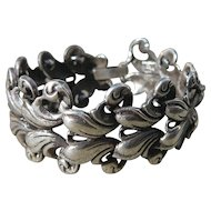 Rare Taxco Silver Link Bracelet with Scroll Designs
