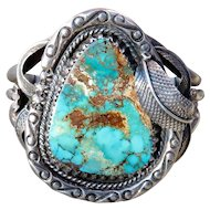 Vintage Old Pawn Turquoise and Sterling Cuff Bracelet