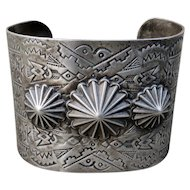 Vintage Wide Fred Harvey Style Sterling Cuff