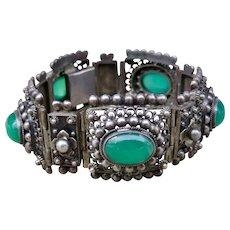 Vintage Peruzzi Panel Bracelet 800 Silver Green Onyx