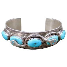 Vintage Native American Effie Calavaza Turquoise Cuff