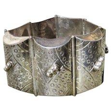 Vintage Taxco Silver Los Ballesteros Barrel Bracelet
