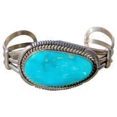 Vintage Native American Turquoise Sterling Cuff