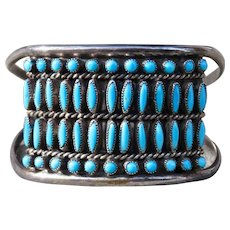 Vintage Turquoise and  Sterling Snake Eye and Petit Point Cuff