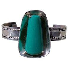 Vintage Taxco Silver Green Onyx Bracelet