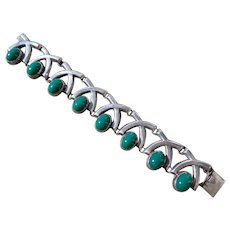 Vintage Taxco FarFan Silver Green Onyx Bracelet